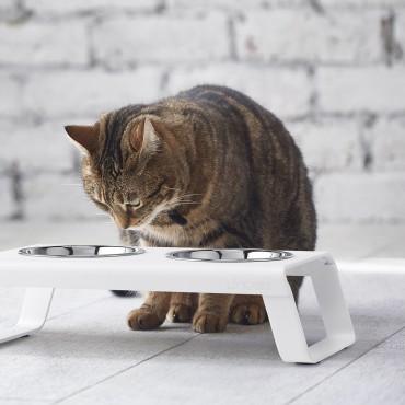 Cat feeder MiaCara Desco alu blanc